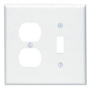 Leviton 80505-W Combo Wallplate, 2-Gang, Toggle/Duplex, Thermoset, White,  Midway