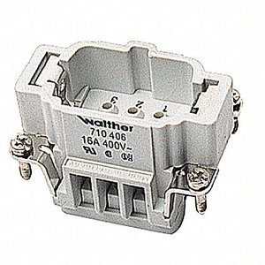 Thomas & Betts MS206B Terminal Block, Pos-E-Kon Series, Male Insert, 18 - 4 AWG, 16A, Gray