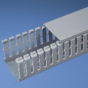 "Panduit G3X4LG6 Wiring Duct, Wide Slot, 3"" x 4"" x 6', PVC, Gray"
