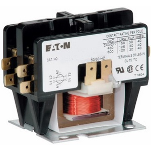 Eaton C25BNB225A Contactor, Definite Purpose, 2P, 25A, 110 -120VAC Coil, 600VAC