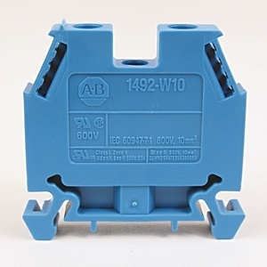 Allen-Bradley 1492-W10-B Terminal Block, 50A, 600V AC/DC, Blue, 10mm, Space Saver