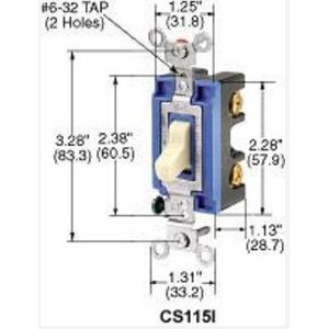 Hubbell-Kellems CS115W AC Toggle Switch, 15A, 120/277V, White
