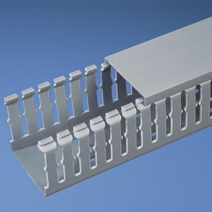 "Panduit G1.5X3LG6 Wiring Duct, Wide Slot, 1-1/2"" x 3"" x 6', PVC, Gray"