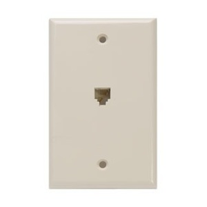 Leviton 40249-I Jack, 6 Position, 4 Conductor, Ivory, Flush Mount