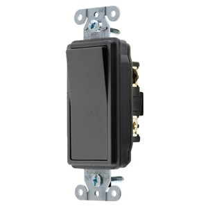 Hubbell-Wiring Kellems DS320BK Decorator 3-Way Rocker Switch, 20A, 120/277VAC, Black