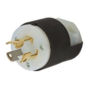 Hubbell-Kellems HBL4720C Locking Plug, 15A, 125/250V, 2P3W, L5-15P, Black & White Nylon