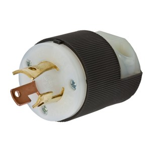 Hubbell-Wiring Kellems HBL7567C Locking Plug, Non-NEMA, 10/15A, 250/125V, Black/White