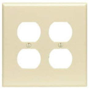 Leviton 80516-I Duplex Receptacle Wallplate, 2-Gang, Thermoset, Ivory, Midway