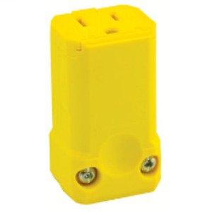 Leviton 5259-VY 15 Amp Connector, 125V, 5-15R, Nylon, Yellow, Python