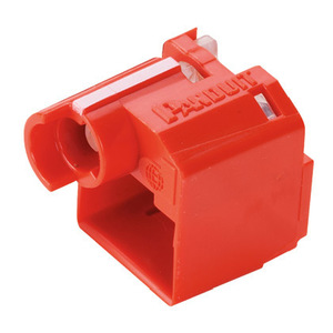 Panduit PSL-DCPLX RJ45 Plug Lock-In Device, Red, Bag of 10