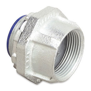 "Thomas & Betts 374 Hub Connector, Size: 1-1/2"", Insulated, Malleable Iron"