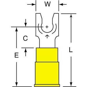 3M MV10-8FLK Vinyl Insulated Brazed Seam Locking Fork Terminal