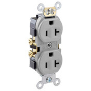 Leviton CR20-GY 20A Duplex Receptacle, 125V, 5-20R, Gray, Side Wired, Spec Grade