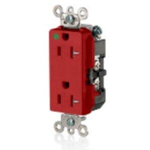 Leviton 16362-SGR Tamper Resistant Decora Duplex Receptacle, 20A, 125V, 5-20R, Red