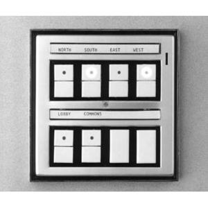 "GE RMP2-35 8-Switch Master Plate, Aluminum, Black Trim, Mount on 4-11/16"" Box"