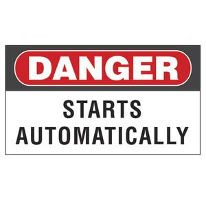 "Panduit PVS0204D100Y Vinyl Adhesive Sign, 2.25""x4.50"", 'Danger Starts ...',"