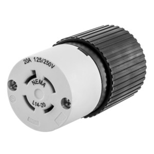Hubbell-Kellems L1420C Locking Connector, 20A, 125/250V, 3P4W, Grounding, Black/White