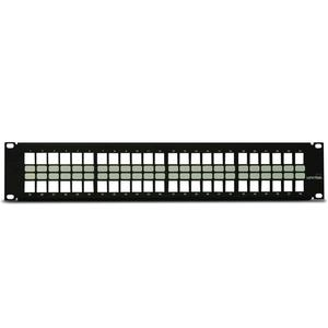 "Leviton 49255-H48 Patch Panel, QuickPort, High-Density, 48-Port, 2RMU, 3.5"" H x 19"" W"