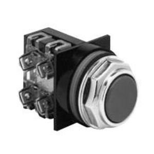 GE CR104PBG92B1 Push Button, Flush Black Head, 2NO/NC Contact, 10A, 600V, Momentary