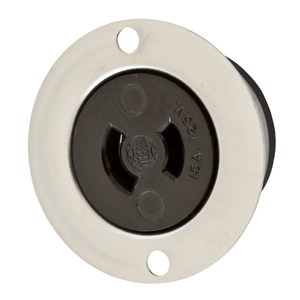Hubbell-Wiring Kellems HBL7468 Flanged Outlet, 15A, 125V, 2P2W, Midget