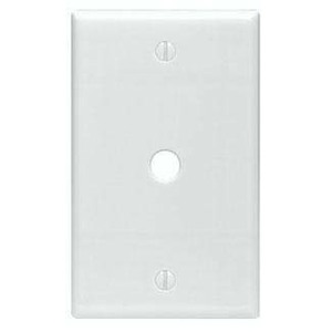"Leviton 80513-W Phone/Cable Wallplate, 1-Gang, .312"" Hole, WH Themoset, Mid"