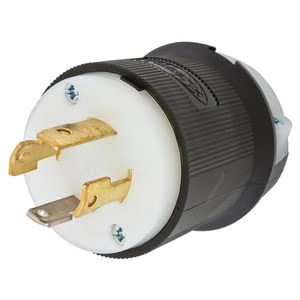 Hubbell-Kellems HBL2711 Twist-Lock Plug 30A, 125/250V, L14-30P, 3P4W, Black/White