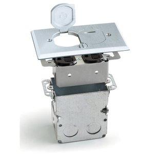 Lew SWB-2-LR-A Floor Plate Assembly, Receptacle Box, Aluminum