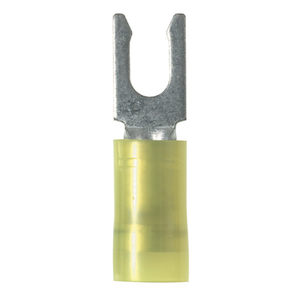 Panduit PN10-10LF-L Locking Fork Terminal, Nylon, 12 - 10 AWG, #10 Stud Size, Yellow