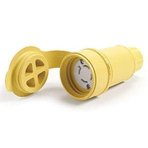 Woodhead 29W75 Watertight Locking Connector, 15A, 3-Phase, 250V, Yellow