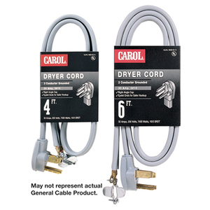 General Cable 01006.63.01 Dryer Cord, 30A, 125/250V, 4-Wire, 14-30P, 6' Long, Black