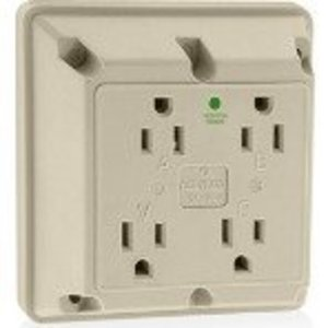 Leviton 1254-HI Hospital Grade 4-in-1 Receptacle, Nylon, Ivory, 15A, 125V