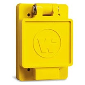 Woodhead 65W47 Watertight Locking Receptacle, 15A, 125V, 2P3W, Yellow