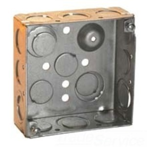 """Cooper Crouse-Hinds TP403 4"""" Square Box, Welded, Metallic, 2-1/8"""" Deep"""