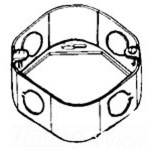 """Cooper Crouse-Hinds TP258 3-1/4"""" Octagon Extension Ring, 1-1/2"""" Deep, 1/2"""" KOs, Drawn, Steel"""