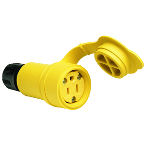 Woodhead 15W47 Rubber Connector, 15A, 125V, NEMA 5-15R, Wetguard, Yellow