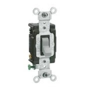 Leviton CSB4-15T 15 Amp, 120/277 Volt, Toggle 4-Way AC Quiet Switch, Commercial Spec Grade, Grounding, Back & Side Wired - Light Almond