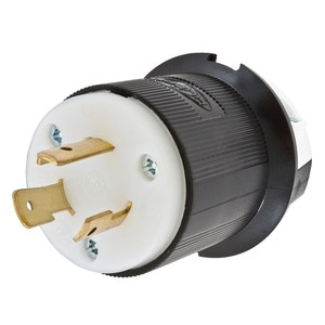 Hubbell-Kellems HBL2321 Locking Plug, 20A, 250V, 2P3W, Black/White