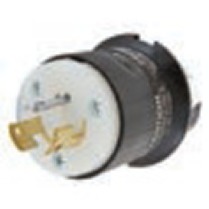 Hubbell-Wiring Kellems HBL9965C Locking Plug, Non-Nema, 20A, 125/250V, 3P3W, Black/White Nylon