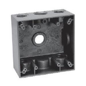 "Cooper Crouse-Hinds TP7106 Weatherproof Outlet Box, 2-Gang, Depth: 2"", (5) 3/4"" Hubs, Aluminum"