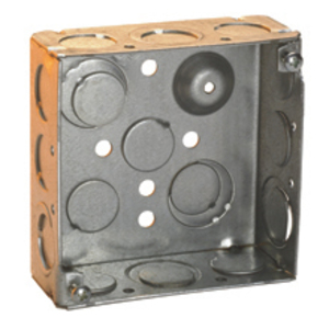 """Cooper Crouse-Hinds TP450 4"""" Square Box, Welded, 2-1/8"""" Deep, 1/2 & 3/4"""" Knockouts, Steel"""