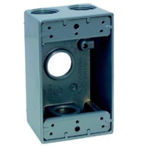 "Cooper Crouse-Hinds TP7122 Weatherproof Outlet Box, 2-Gang, Depth: 2"", (5) 3/4"" Hubs, Aluminum"