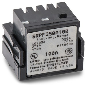 GE Industrial SRPF250A100 Rating Plug, 100A, 480VAC, 295-1000 Trip Range, Spectra Series