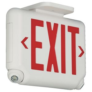Hubbell-Dual-Lite EVCURWD4 Emergency Combo Exit/Light, LED, White, Red Letters