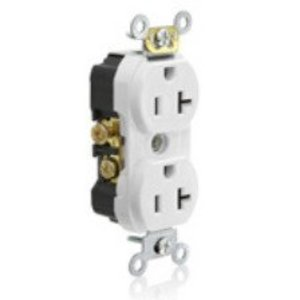 Leviton TCR20-W Tamper Resistant Duplex Receptacle, 20A, 125V, White