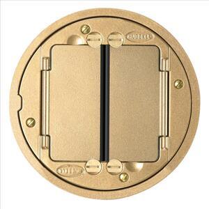 "Hubbell-Kellems S1TFCBRS Round Floor Cover, Diameter: 5"", Brass, Aluminum"
