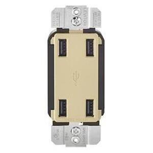 Leviton USB4P-I 4 Port USB Receptacle Device Ivory