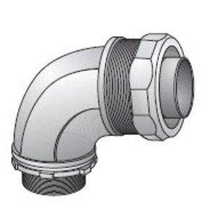 "EGS 4QS-950 Liquidtight Connector, 90°, 1/2"", Non-Insulated, Malleable Iron"