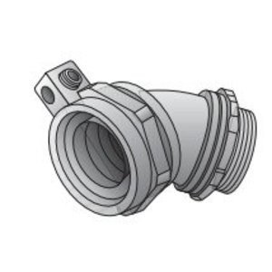 "Appleton 4QS-475T Liquidtight Connector, 45 Degree, 3/4"", Non-Insulated, Malleable Iron"