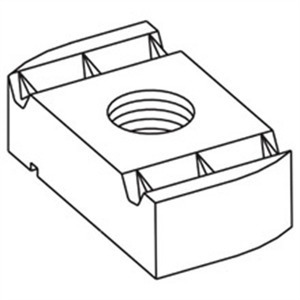 "Eaton B-Line N224WOZN Channel Nut, No Spring, 1/4-20 Thread, 1/4"", Steel/Zinc Plated"