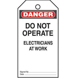 Panduit PVT-23 Plastic Tag, 'Danger Do Not Operate Elec